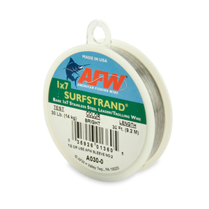 Surfstrand, Bare 1x7 Stainless Steel Leader, 30 lb (14 kg) test, .015 in (0.38 mm) dia, Bright, 30 ft (9.2 m)
