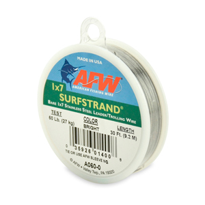 Surfstrand, Bare 1x7 Stainless Steel Leader, 60 lb (27 kg) test, .021 in (0.53 mm) dia, Bright, 30 ft (9.2 m)