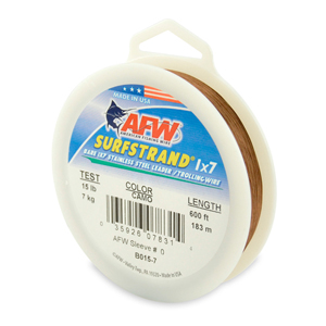 Surfstrand, Bare 1x7 Stainless Steel Leader Wire, 15 lb (7 kg) test, .010 in (0.25 mm) dia, Camo, 600 ft (183 m)
