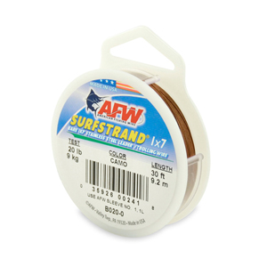 Surfstrand, Bare 1x7 Stainless Steel Leader Wire, 20 lb (9 kg) test, .011 in (0.28 mm) dia, Camo, 30 ft (9.2 m)