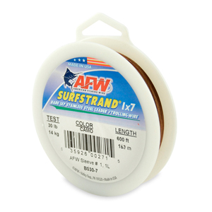 Surfstrand, Bare 1x7 Stainless Steel Leader Wire, 30 lb (14 kg) test, .012 in (0.30 mm) dia, Camo, 600 ft (183 m)