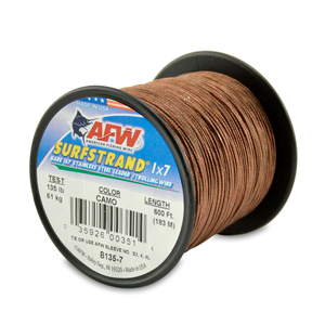 Surfstrand, Bare 1x7 Stainless Steel Leader Wire, 135 lb (61 kg) test, .027 in (0.69 mm) dia, Camo, 600 ft (183 m)