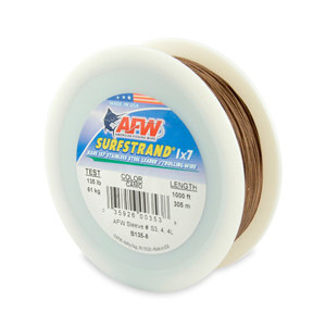 Surfstrand, Bare 1x7 Stainless Steel Leader Wire, 135 lb (61 kg) test, .027 in (0.69 mm) dia, Camo, 1000 ft (305 m)