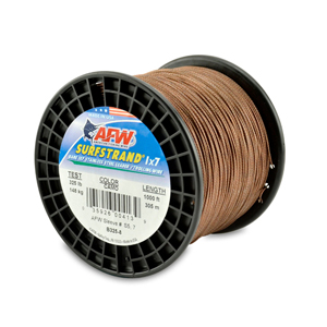 Surfstrand, Bare 1x7 Stainless Steel Leader Wire, 325 lb (148 kg) test, .045 in (1.14 mm) dia, Camo, 1000 ft (305 m)
