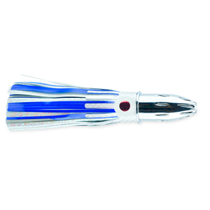 Billy Baits, Mister Big Lure, Blue/White Mylar Skirt, 16 oz (453 g) Head, 9 in (22.8 cm)