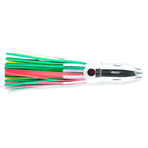 Billy Baits, Mister Big Lure, Green/Chartreuse/Pink Mylar Skirt, 16 oz (453 g) Head, 9 in (22.8 cm)