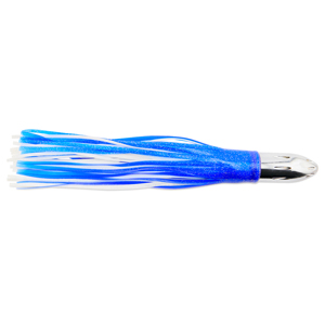 Billy Baits, Mister Big Lure, Ultimate Series, Tie on Skirt Version, Blue/White PVC Skirt, 16 oz (454 g) Head, 16 in (40.6 cm)