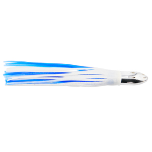 Billy Baits, Mister Big Lure, Ultimate Series, Tie on Skirt Version, White / Blue PVC Skirt, XL, 16 oz (454 g) Head, 16 in (40.6 cm)