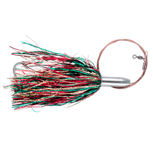 Billy Baits, Mini Turbo Slammer Rigged & Ready, Green/Gold/Red/Red, 17/0 Mustad Hook, AFW Swivel, 135 lb (61 kg) AFW Cable, 3 ft (0.9 m)