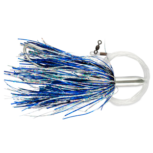 Billy Baits, Mini Turbo Slammer Rigged & Ready, Blue Silver/Blue Firetip, Concave Head, 7/0 Mustad Hook, AFW Swivel, 100 lb (45.3 kg) Grand Slam Mono Line, 6 ft (1.8 m)