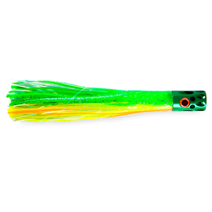 Billy Baits, Magnum Turbo Whistler Lure, Green/Chartreuse/Orange/Pearl Skirt, 2 oz (56.6 g) Head