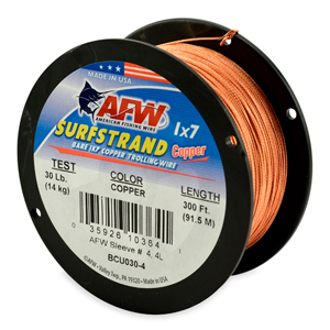 Surfstrand, Bare 1x7 Copper Trolling Wire, 30 lb (14 kg) test, .028 in (0.71 mm) dia, Copper, 300 ft (92 m)