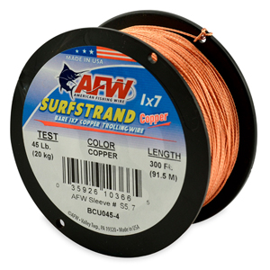 Surfstrand, Bare 1x7 Copper Trolling Wire, 45 lb (20 kg) test, .037 in (0.93 mm) dia, Copper, 300 ft (92 m)