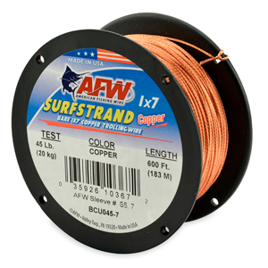 Surfstrand, Bare 1x7 Copper Trolling Wire, 45 lb (20 kg) test, .037 in (0.93 mm) dia, Copper, 600 ft (183 m)