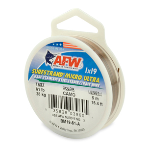 Surfstrand Micro Ultra, Bare 1x19 Stainless Steel Leader Wire, 61 lb (28 kg) test, .020 in (0.51 mm) dia, Camo, 16.4 ft (5 m)