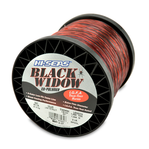 Black Widow Mono Line, I.G.F.A. Class 37, 80 lb (37.0 kg) test, .031 in (0.80 mm) dia, 3-Color Camo, 1580 yd (1445 m)