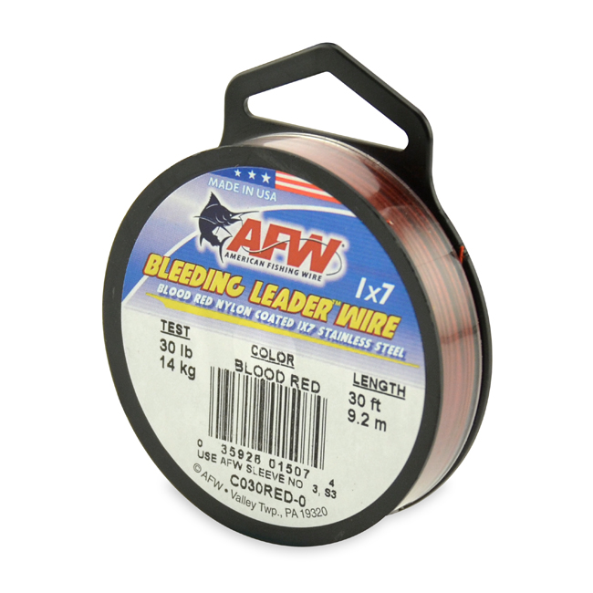 American Fishing Wire Bleeding Leader Blood Red Nylon Coated 1x7 Stainless