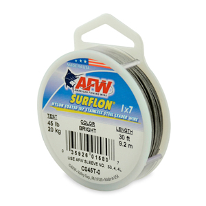 Surflon, Nylon Coated 1x7 Stainless Steel Leader Wire, 45 lb (20 kg) test, .028 in (0.71 mm) dia, Bright, 30 ft (9.2 m)