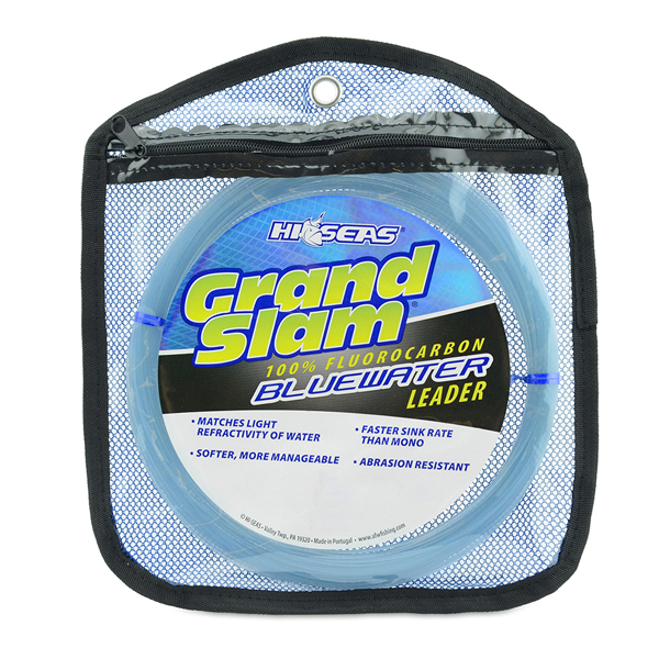 Grand Slam Bluewater 100% Fluorocarbon Leader, 220 lb (99.8 kg) test, .059 in (1.50 mm) dia, Blue, 25 yd (23 m) Coil