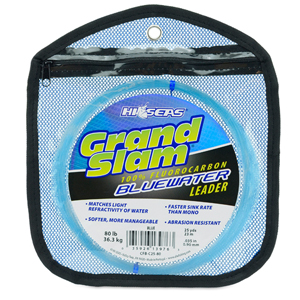 Grand Slam Bluewater 100% Fluorocarbon Leader, 80 lb (36.3 kg) test, .035 in (0.90 mm) dia, Blue, 25 yd (23 m) Coil