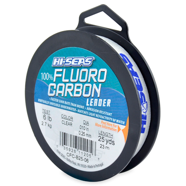 100% Fluorocarbon Leader, 6 lb (2.7 kg) test, .008 in (0.28 mm) dia, Clear, 25 yd (23 m)