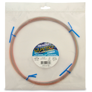Quattro 100% Fluorocarbon Leader, 100 lb (45.4 kg) test, .039 in (1.00 mm) dia, 4-Color Camo, 25 yd (23 m)