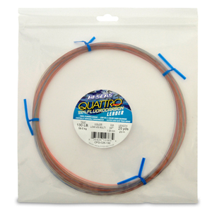Quattro 100% Fluorocarbon Leader, 130 lb (59.0 kg) test, .047 in (1.20 mm) dia, 4-Color Camo, 25 yd (23 m)