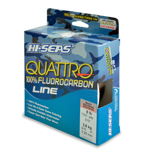 Quattro 100% Fluorocarbon Line, 8 lb (3.6 kg) test, .012 in (0.30 mm) dia, 4-Color Camo, 1000 yd (914 m)