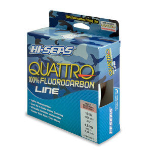 Quattro 100% Fluorocarbon Line, 10 lb (4.5 kg) test, .013 in (0.32 mm) dia, 4-Color Camo, 1000 yd (914 m)