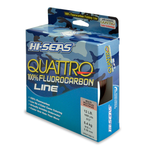 Quattro 100% Fluorocarbon Line, 12 lb (5.4 kg) test, .014 in (0.35 mm) dia, 4-Color Camo, 1000 yd (914 m)