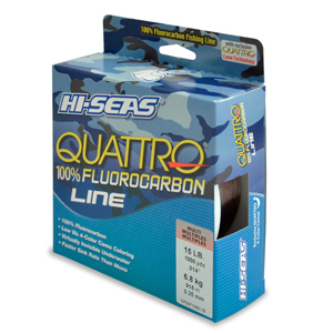 Quattro 100% Fluorocarbon Line, 15 lb (6.8 kg) test, .016 in (0.40 mm) dia, 4-Color Camo, 1000 yd (914 m)