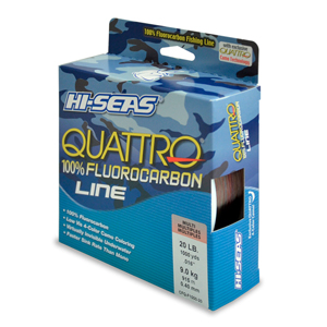 Quattro 100% Fluorocarbon Line, 20 lb (9.0 kg) test, .017 in (0.42 mm) dia, 4-Color Camo, 1000 yd (914 m)