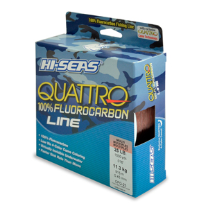 Quattro 100% Fluorocarbon Line, 25 lb (13.6 kg) test, .018 in (0.45 mm) dia, 4-Color Camo, 1000 yd (914 m)