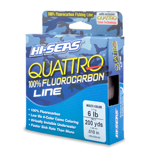 Quattro 100% Fluorocarbon Line, 6 lb (2.7 kg) test, .008 in (0.28 mm) dia, 4-Color Camo, 200 yd (182 m)
