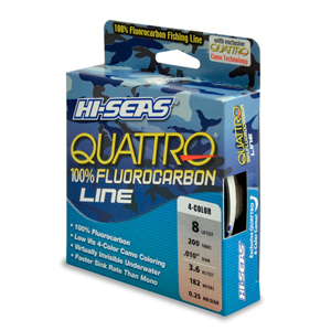 Quattro 100% Fluorocarbon Line, 8 lb (3.6 kg) test, .012 in (0.30 mm) dia, 4-Color Camo, 200 yd (182 m)