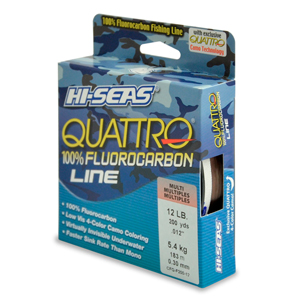 Quattro 100% Fluorocarbon Line, 12 lb (5.4 kg) test, .014 in (0.35 mm) dia, 4-Color Camo, 200 yd (182 m)