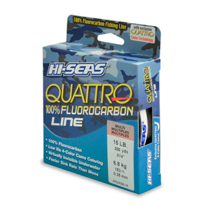 Quattro 100% Fluorocarbon Line, 15 lb (6.8 kg) test, .016 in (0.40 mm) dia, 4-Color Camo, 200 yd (182 m)
