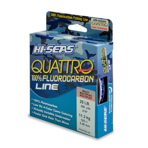 Quattro 100% Fluorocarbon Line, 25 lb (13.6 kg) test, .018 in (0.45 mm) dia, 4-Color Camo, 200 yd (182 m)