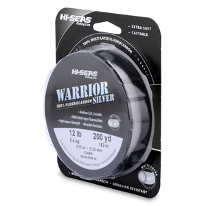Warrior Silver 100% Fluorocarbon Line, 12 lb (5.4 kg) test, 0.013 in (0.32 mm) dia, Clear, 200 yd (183 m)