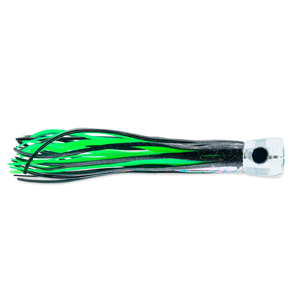 C&H, AlienXL Lure, Black Foil/Green Skirt, Concave Head, Hologram Eye, 10.5 in (22.6 cm)