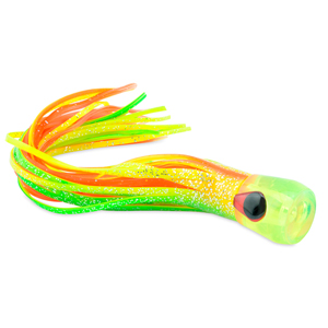 C&H, AlienXL Lure, Green/Chartreuse/Orange Skirt, Concave Head, Hologram Eye, 10.5 in (22.6 cm)