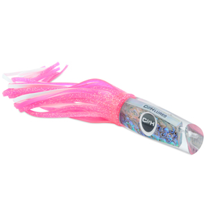 C&H, Kona Classic Big Game Lure, Hot Pink Fleck Over White Skirt, 14 in (35.5 cm)