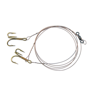 C&H, Live Bait Rig, Two #4 4x Treble Hooks, AFW Swivel, AFW Tooth Proof Camo Brown Wire, 3 ft (0.91 m)