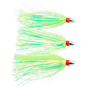 C&H, Pearl Baby Lure, Chartreuse Tinsel Skirt, 1/8 oz (3.54 g) Head, 2.5 in (6.35 cm), 3 pc