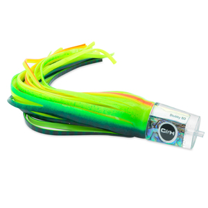 C&H, Stubby Big Game Lure, Blue Green/Chartreuse/Orange Stripe Over White Skirt, 12 in (30.4 cm)