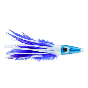 C&H, Tuna Tango XL Feather Lure, White/Blue Feather Skirt, 6.5 in (16.5 cm)
