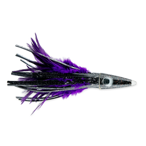 C&H, Tuna Tango XL Feather Lure, Black Foil/Purple Feather Skirt, 6.5 in (16.5 cm)