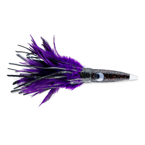 C&H, Wahoo Whacker Feather Lure, Black Foil/Purple Feather Skirt, 10 in (25.4 cm)