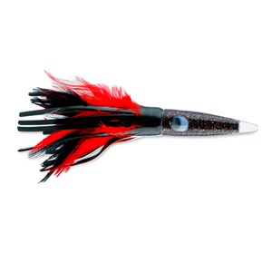 C&H, Wahoo Whacker Feather Lure, Black Foil/Red Feather Skirt, 10 in (25.4 cm)