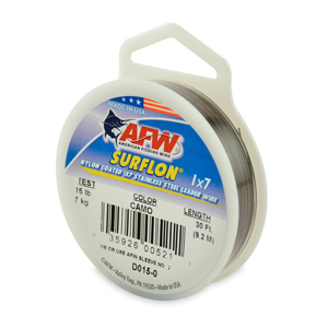 Surflon, Nylon Coated 1x7 Stainless Steel Leader Wire, 15 lb (7 kg) test, .015 in (0.38 mm) dia, Camo, 30 ft (9.2 m)